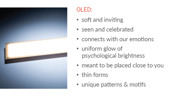 Peerless Olessence OLED lighting is soft and inviting for task lighting in office spaces